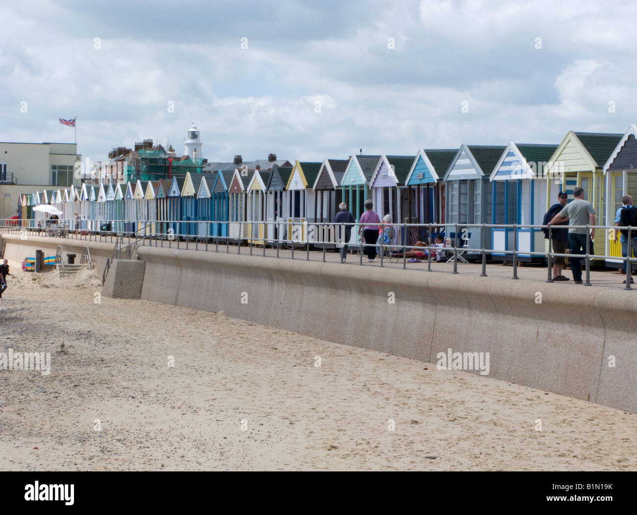 Beach huts along the sea front at Southwold, Suffolk - Stock Image