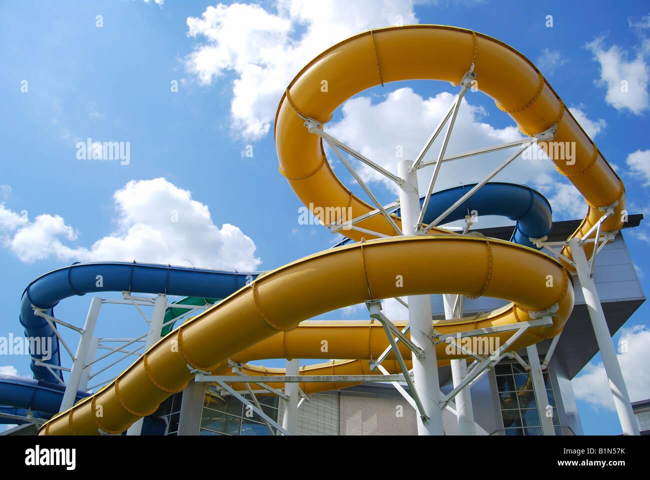 Aquadrome Swimming Pool water slides, Basingstoke Leisure Park Stock ...
