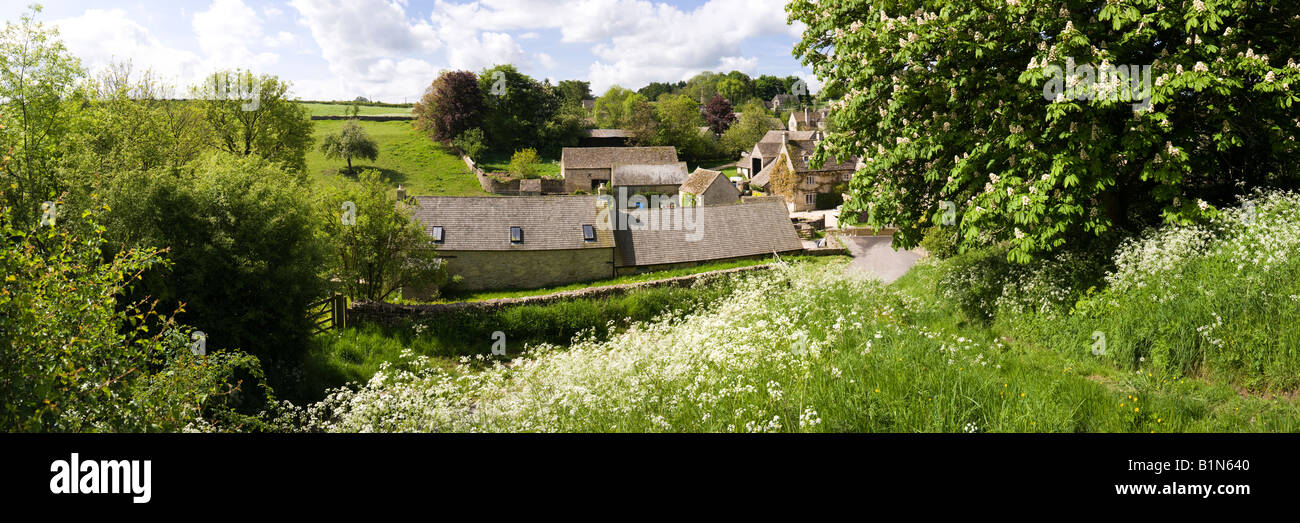 A panoramic view of the Cotswold village of Duntisbourne Leer. Gloucestershire - Stock Image
