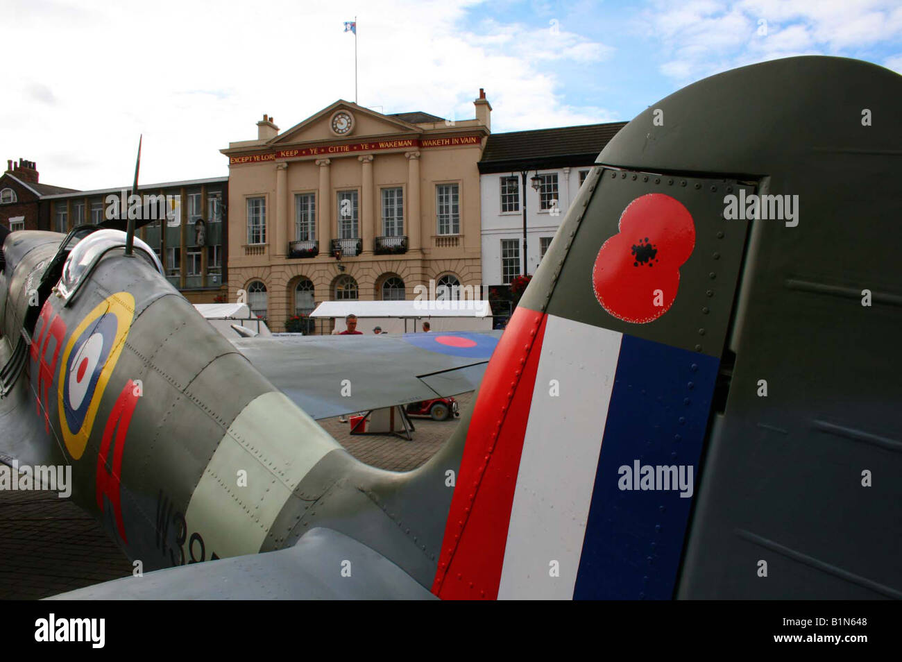replica of WW2 Supermarine Spitfire displayed at Ripon market place in North Yorkshire England UK - Stock Image