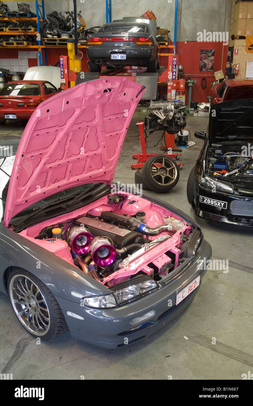 twin turbo 1JZ-GTE engine displayed in the engine bay of a