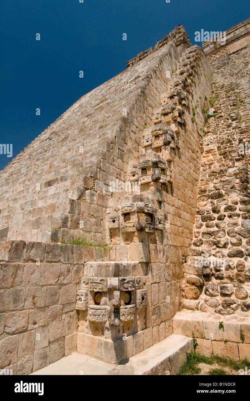 The Pyramid of the magician at the ancient Mayan ruins of Uxmal Mexico - Stock Image