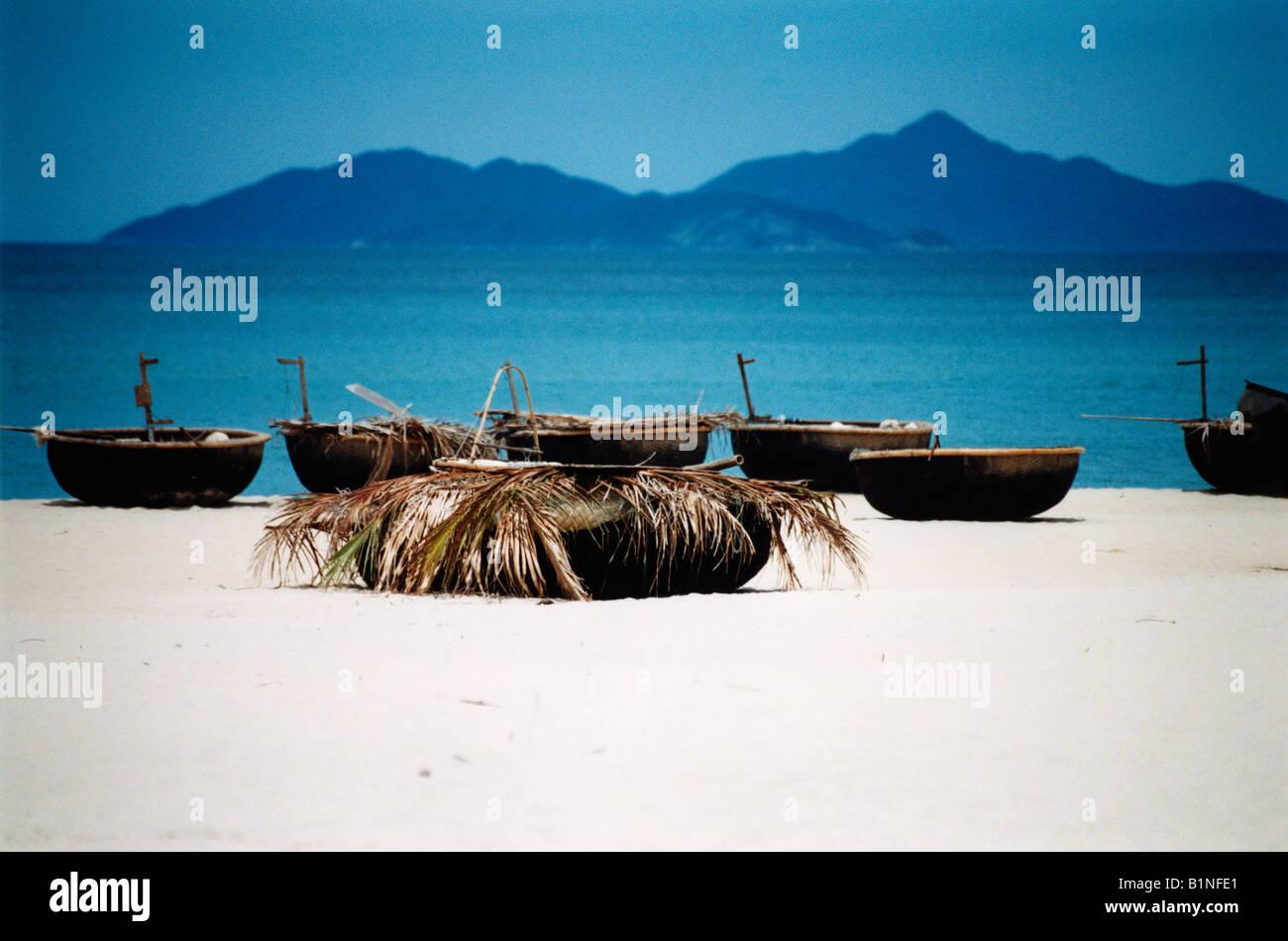 Vietnam Fishing Boats On China Beach Bai Non Nuoc South China Sea Da Nang - Stock Image