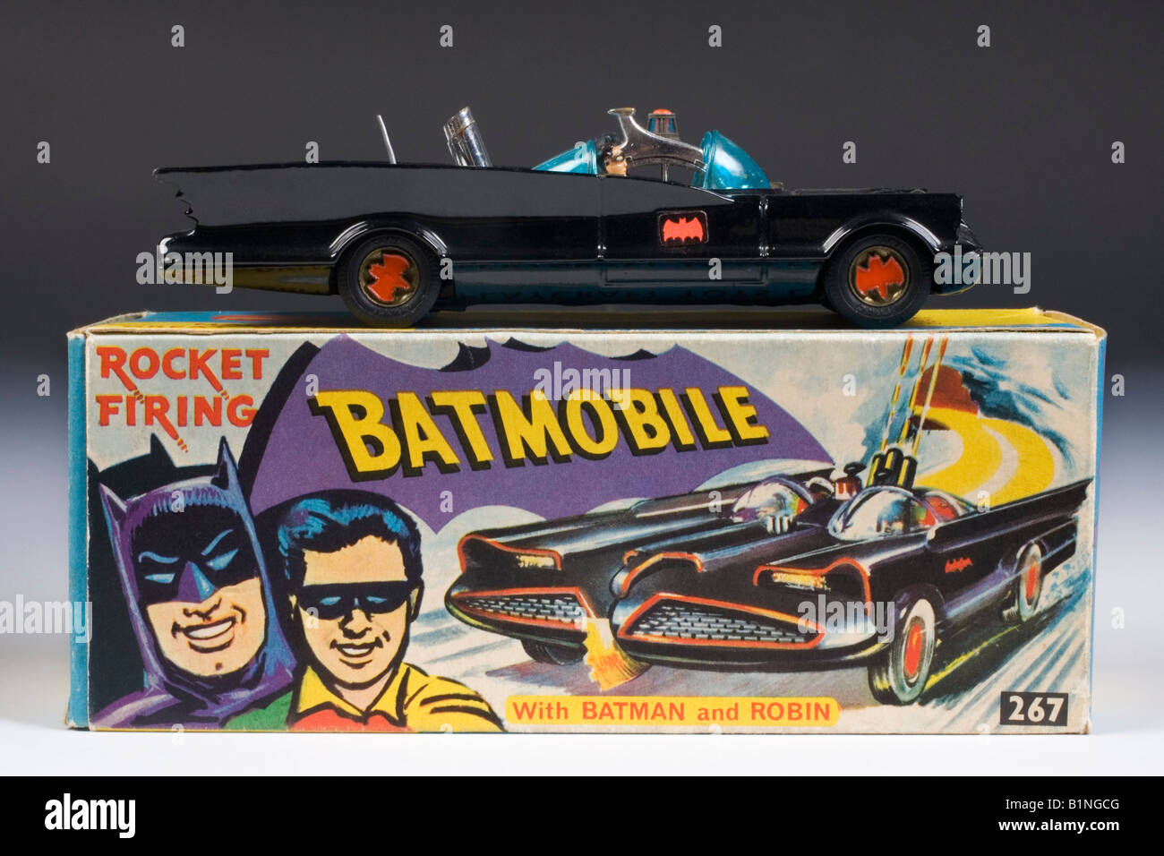 The Batmobile . Corgi Diecast model  no.267. Issued 1966-1967 with the original box Stock Photo