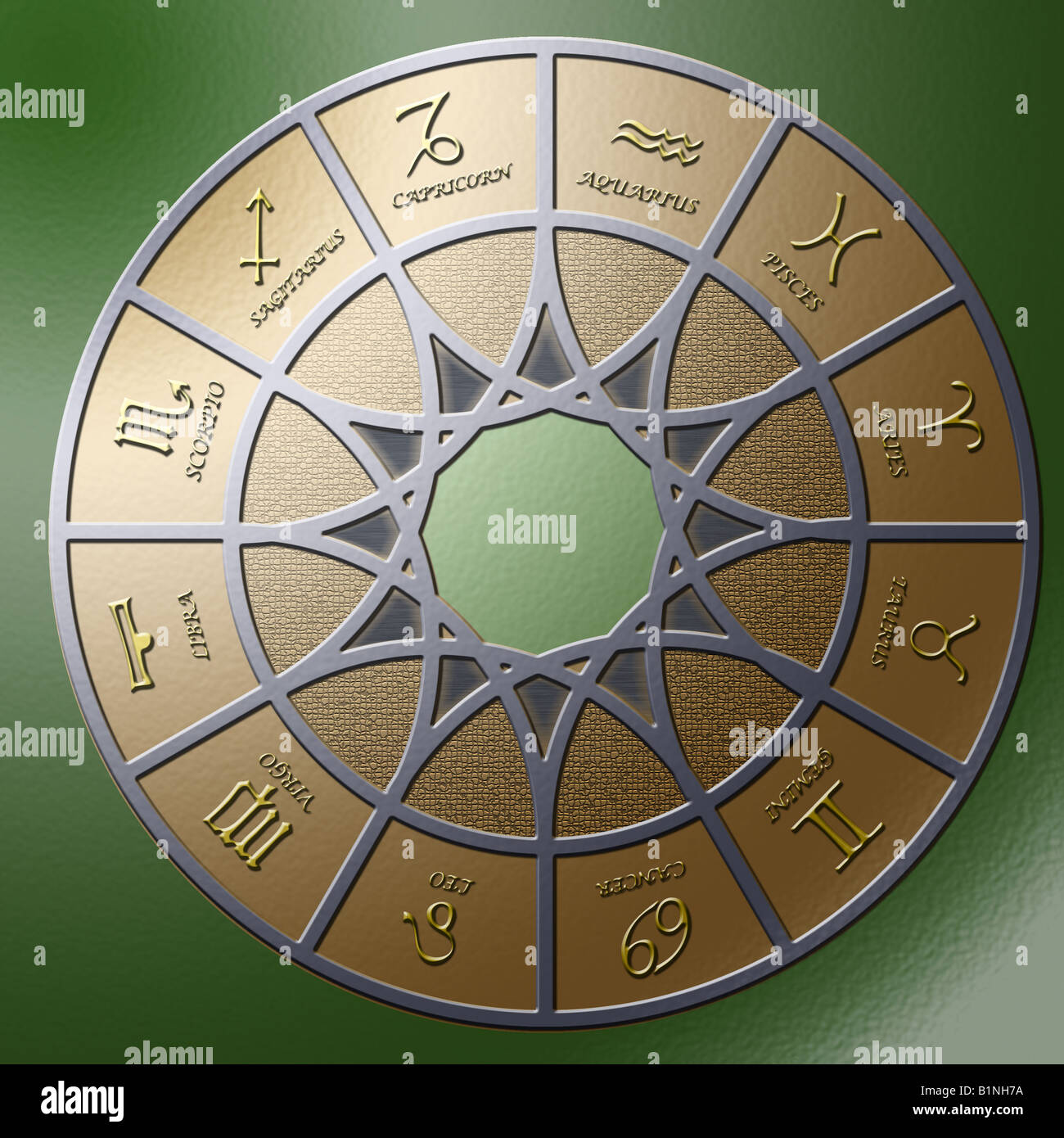 Illustration of a metal circle containing 12 embossed zodiac signs - Stock Image