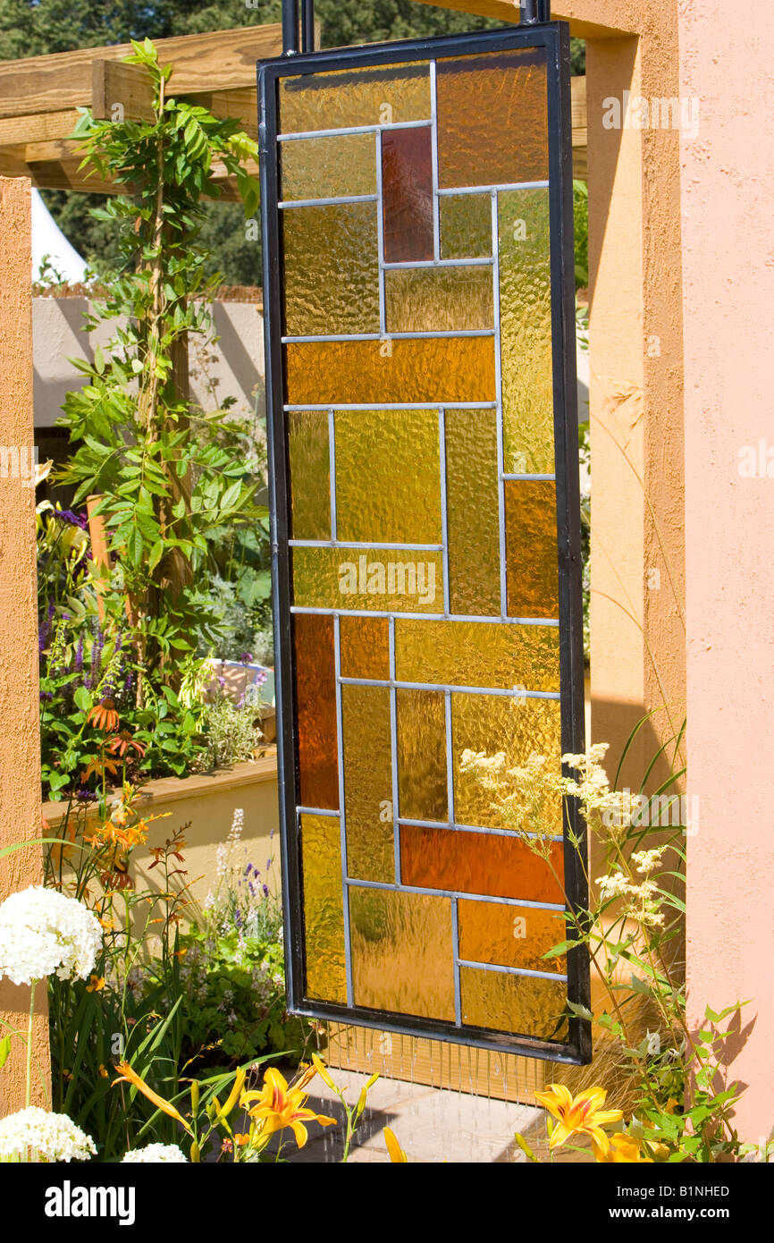 stained glass garden room divider Stock Photo 18299749 Alamy