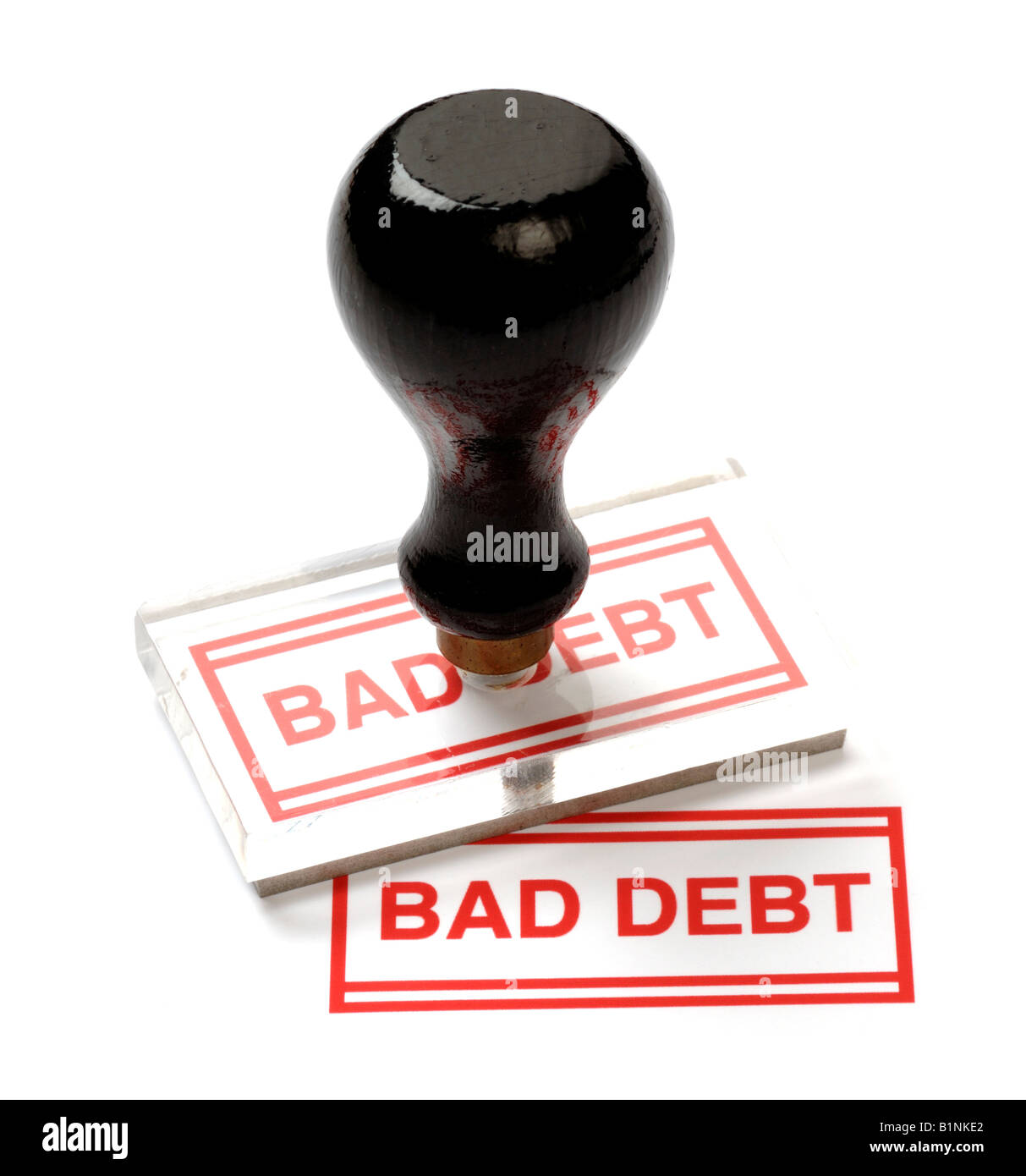 Bad debt office rubber stamp - Stock Image