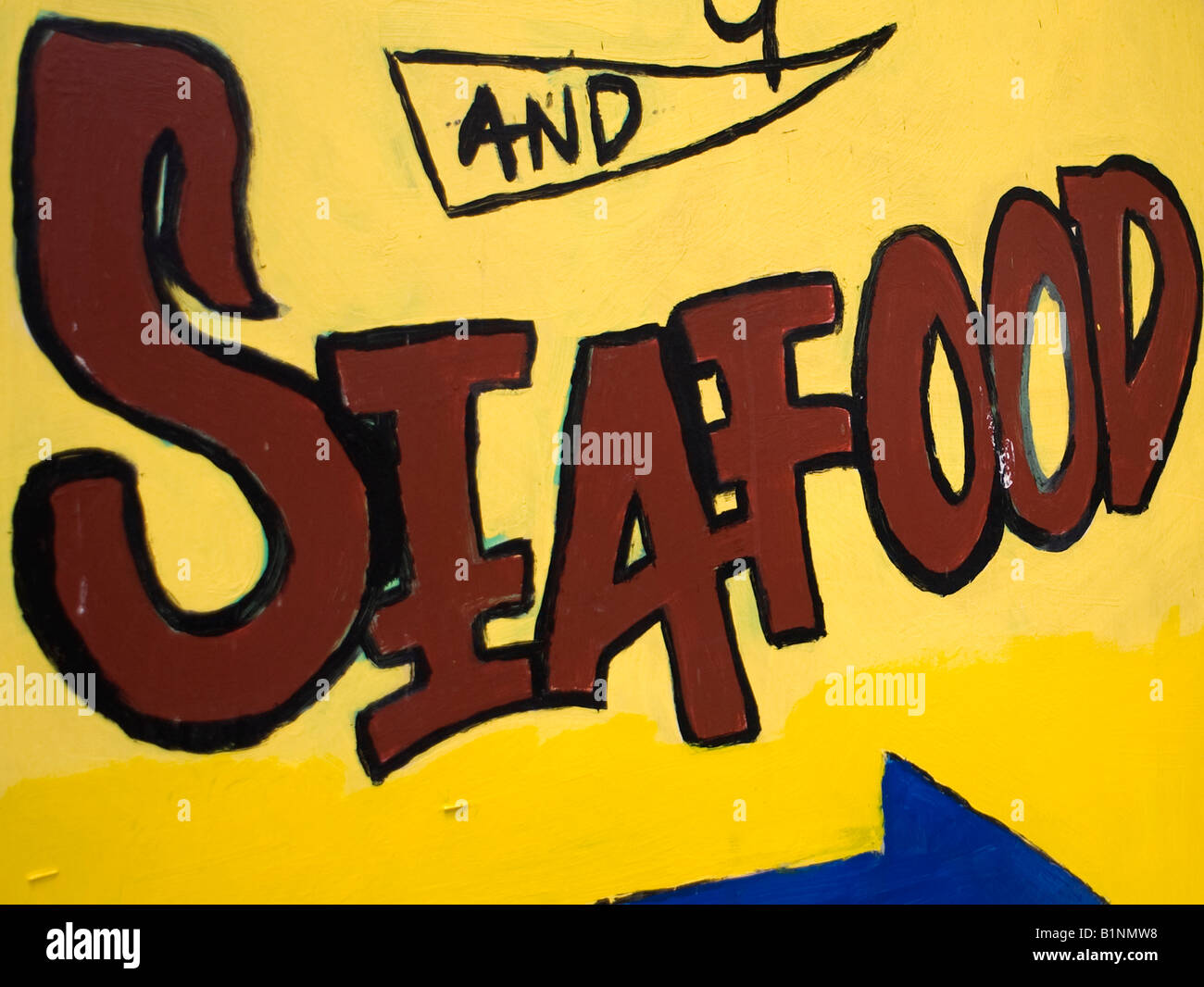 Hand-Painted Seafood Sign Stock Photo