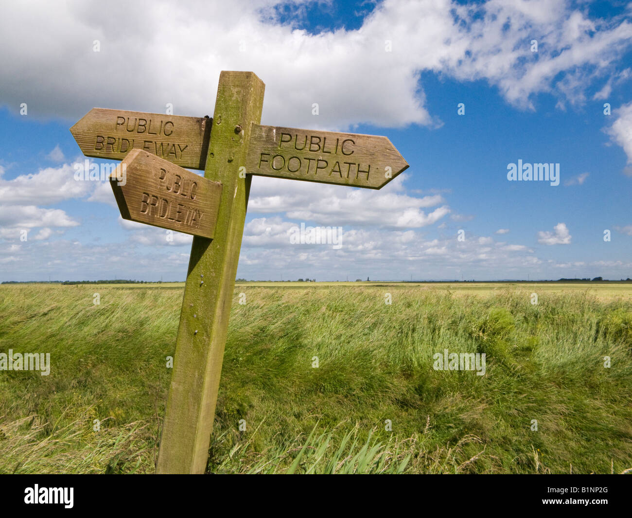 Footpath signpost sign indicating public footpaths and bridleways, Yorkshire, UK - Stock Image