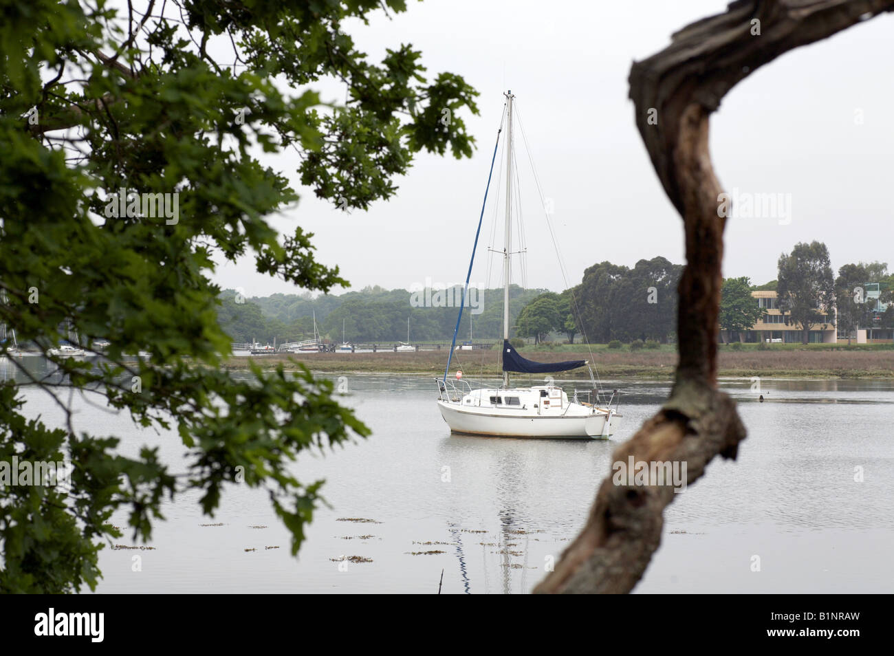 Yacht boat on the solent river in Hampshire England UK - Stock Image