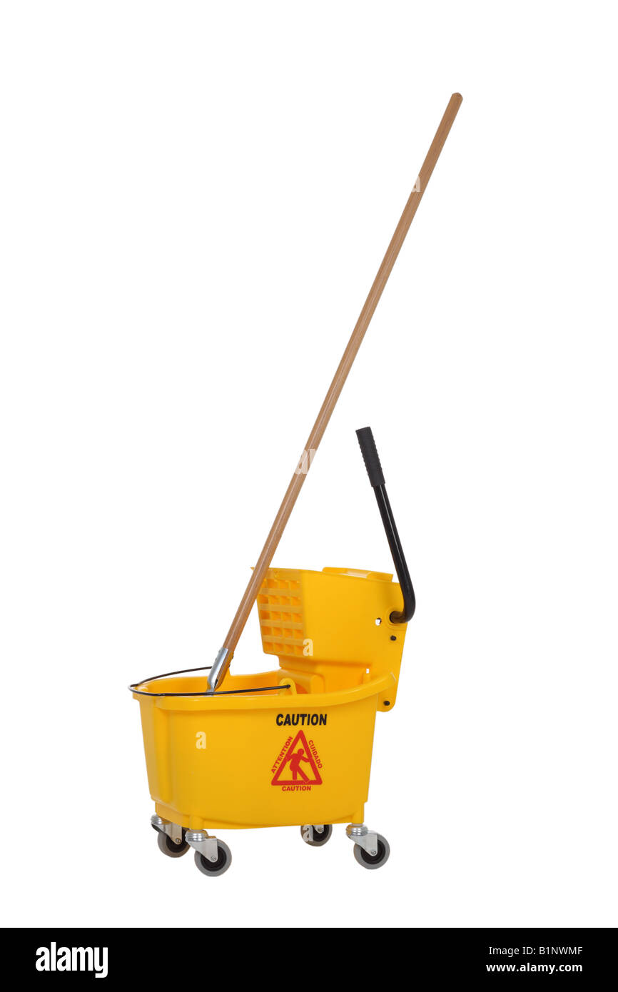 Industrial mop cut out on white background - Stock Image