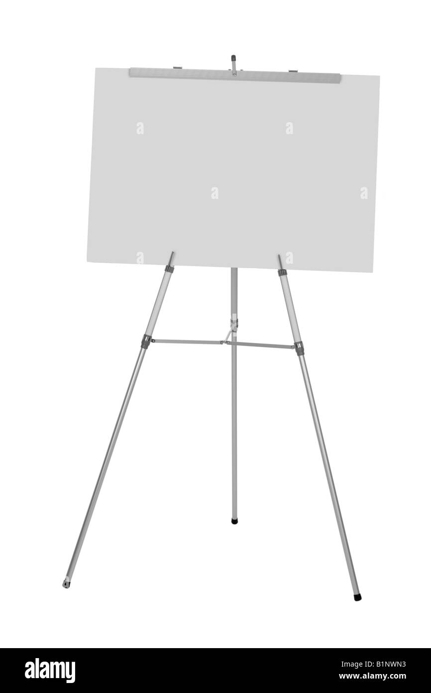 Business presentation easel cut out on white background - Stock Image