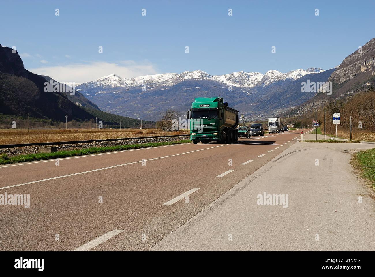 Valsugana higway,Trentino Alto Adige,Italy - Stock Image