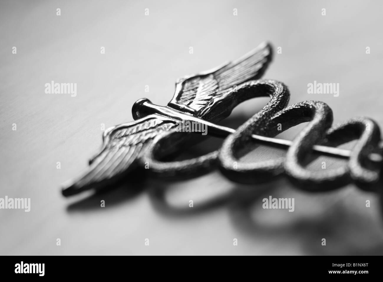 Caduceus medical symbol black and white selective focus - Stock Image
