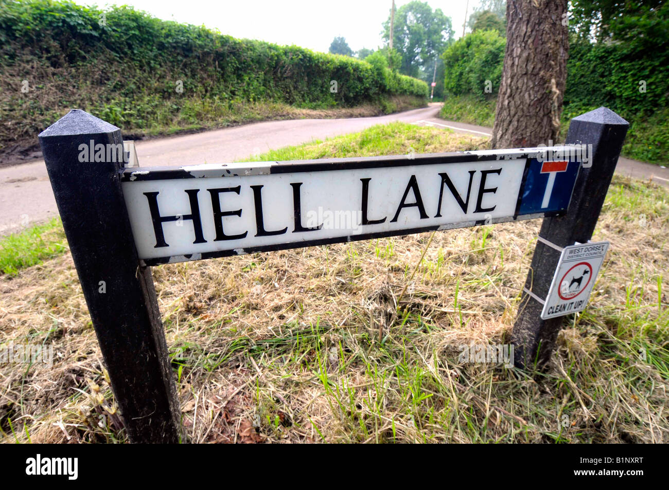 Hell Lane in the village of Chideock, Dorset, Britain, UK - Stock Image