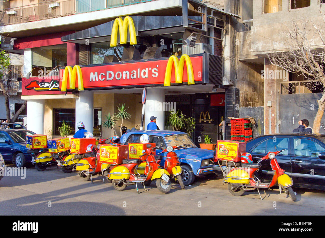 Home delivery scooters at a mcdonald s restaurant in cairo for Shopping in cairo