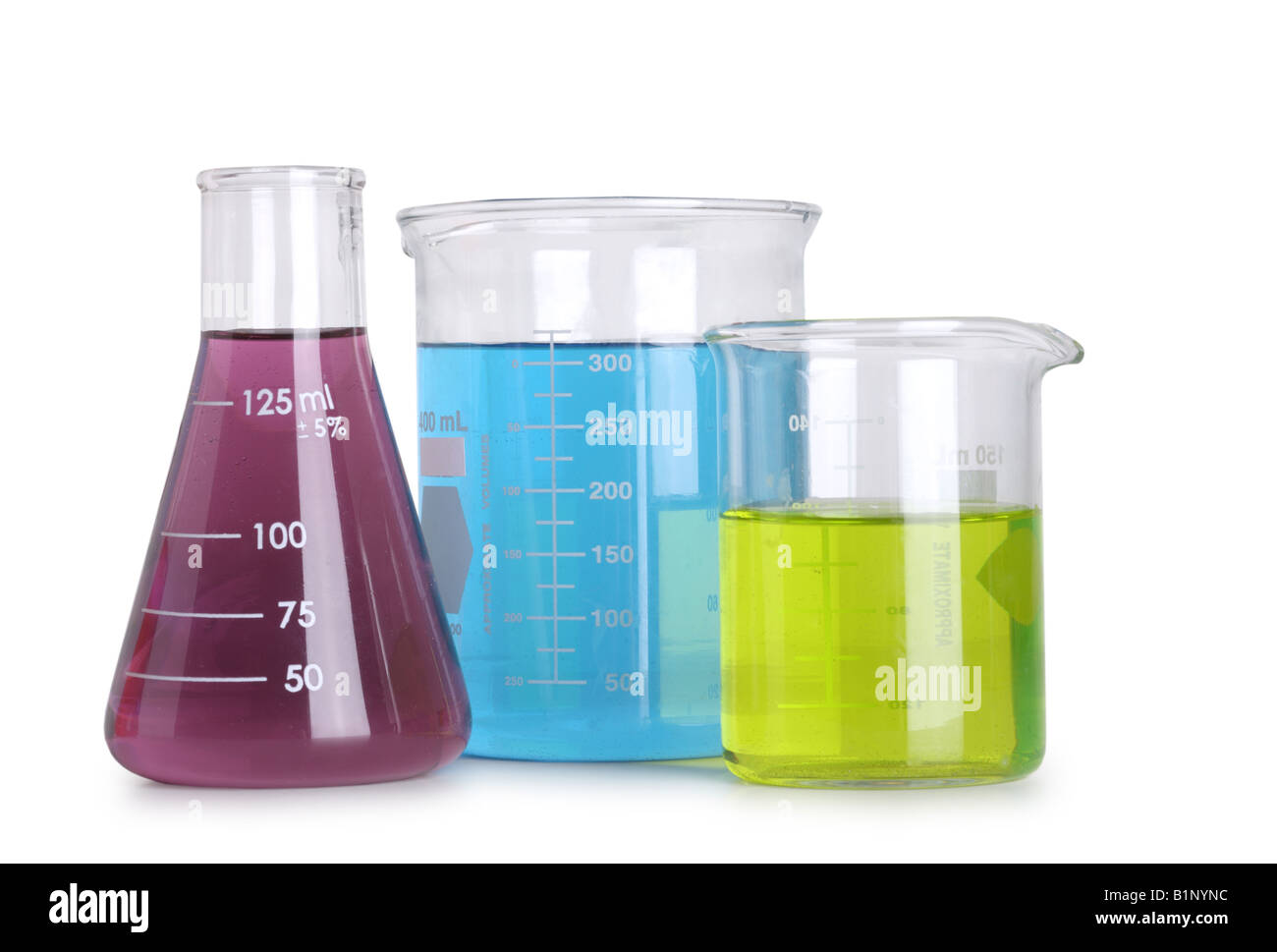 Group of science flasks with colored liquids cut out on white background - Stock Image