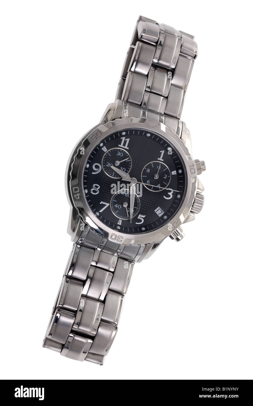 Mens watch cut out on white background - Stock Image