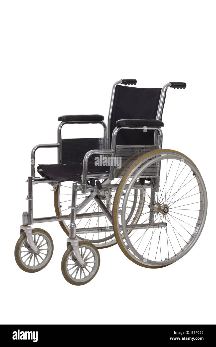 Wheelchair cut out on white background - Stock Image