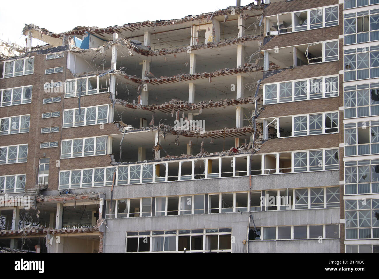 A partly demolished building in a U.K. city. - Stock Image