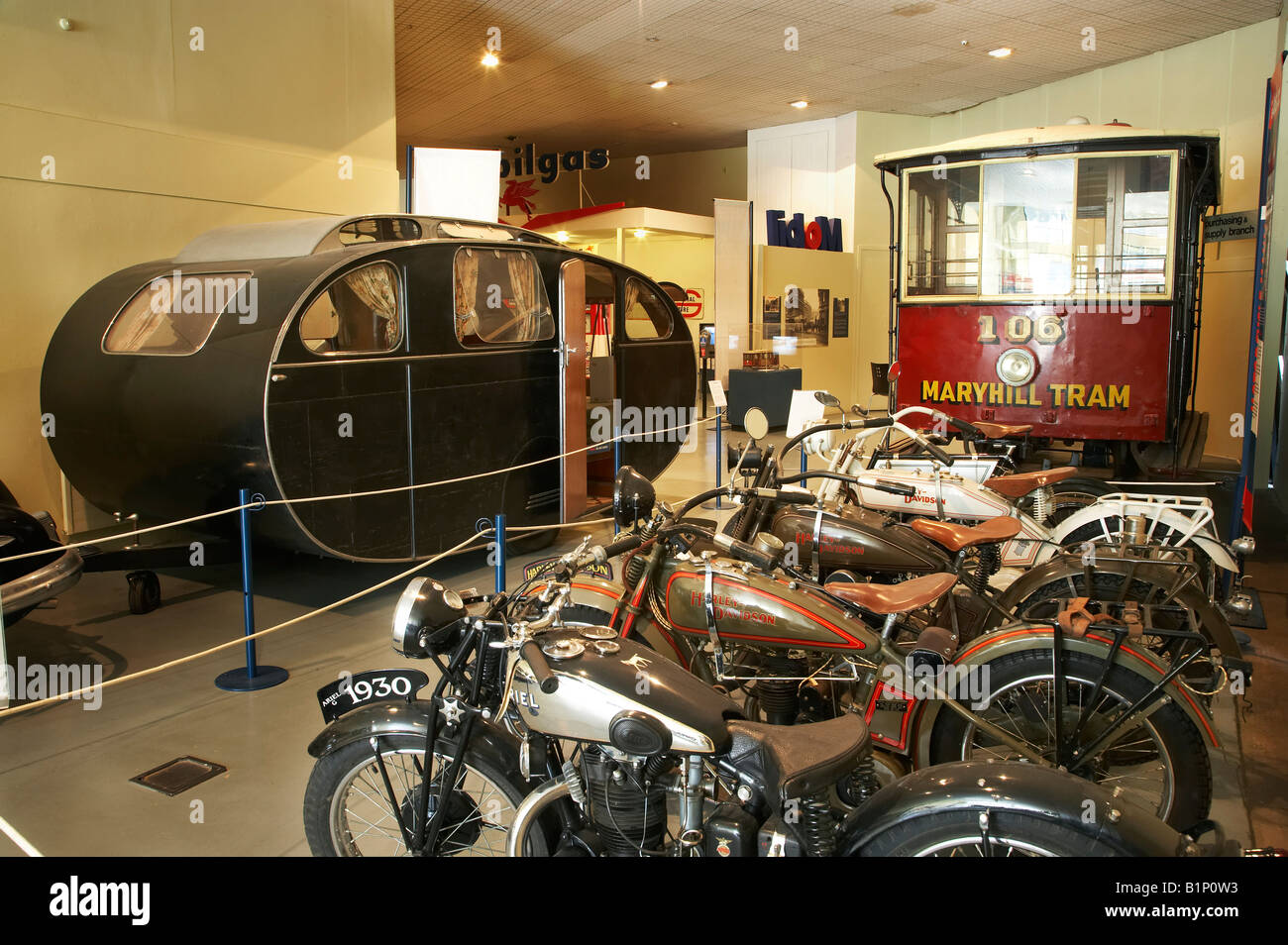 Vintage Motorcycles Caravan and Tram Otago Settlers Museum Dunedin South Island New Zealand - Stock Image