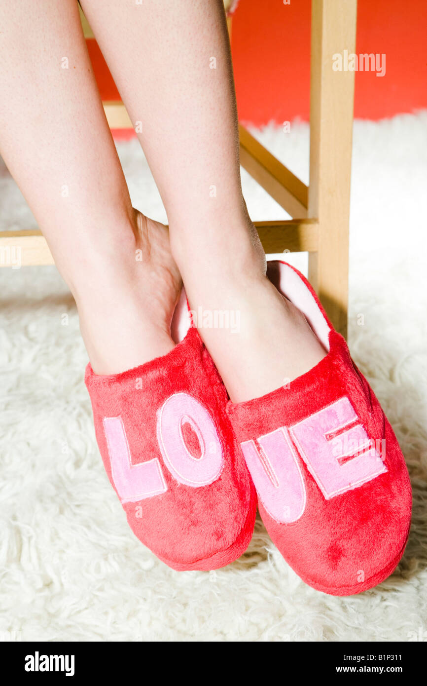 fb7adac8f47 Red slippers with love sign Stock Photo  18310349 - Alamy