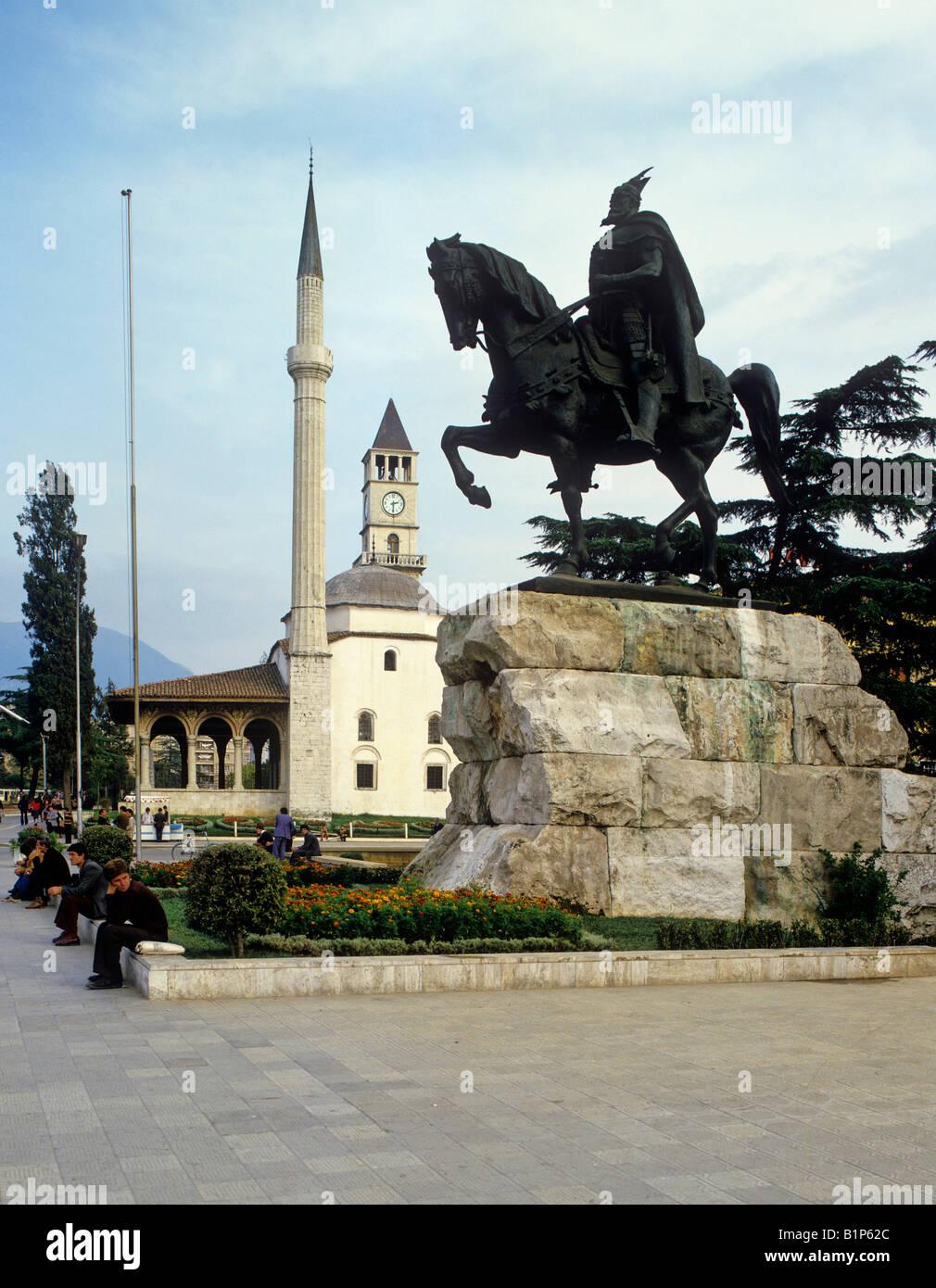 sahatit bell tower and et hem bey mosque monument of skanderbeg on skanderbeg square city of tirana albania - Stock Image