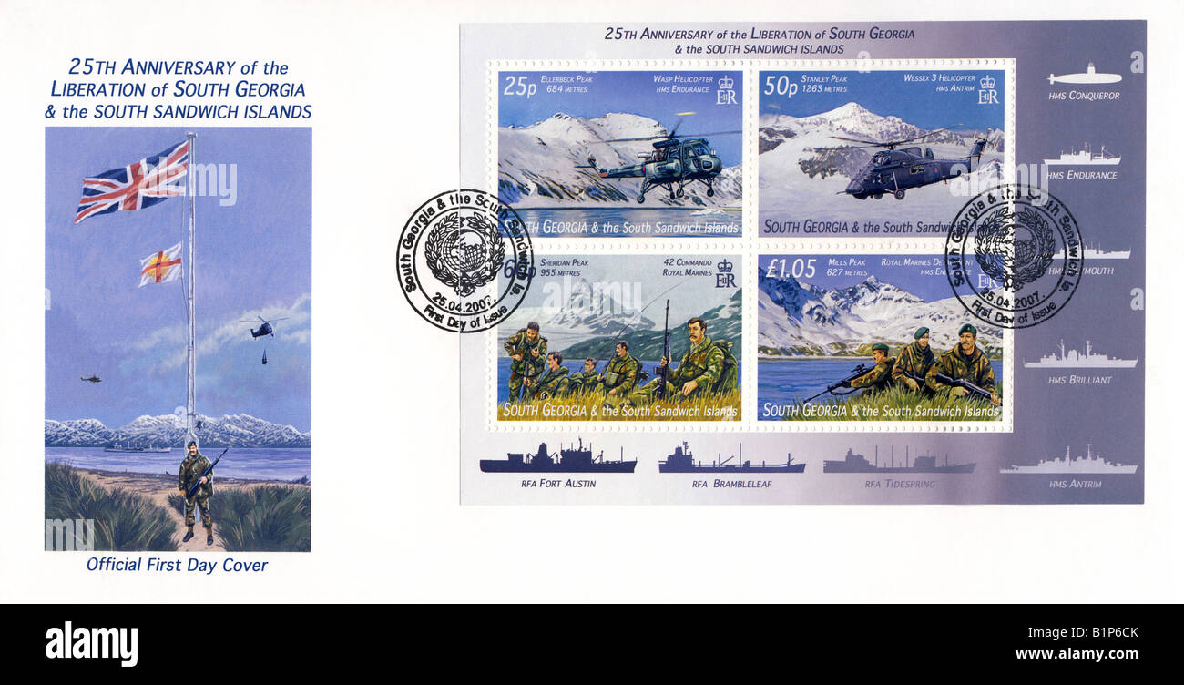 25th Anniversary of South Georgia and South Sandwich Islands Liberation  - 1st day cover Stock Photo