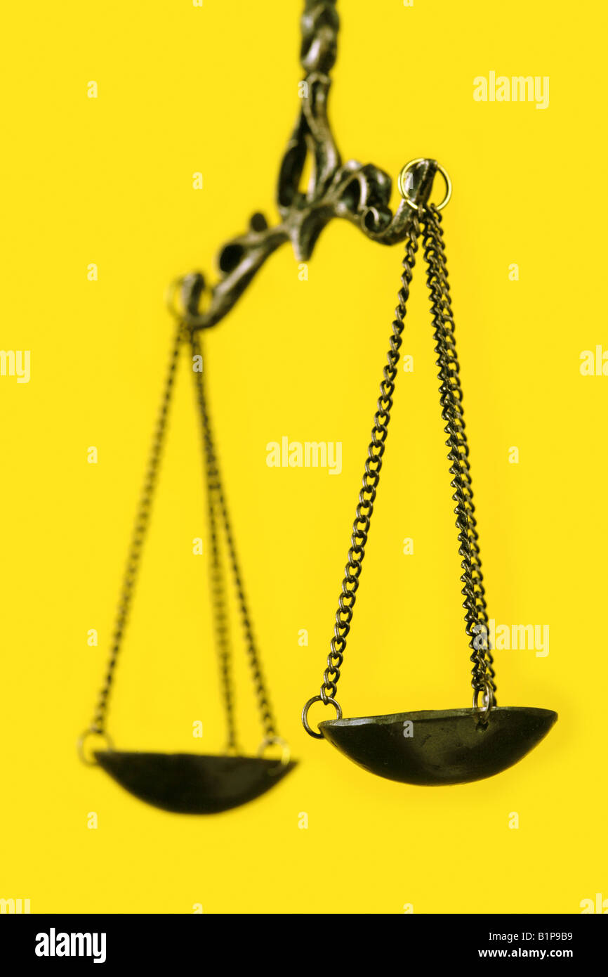 weighing pan scales justice - Stock Image