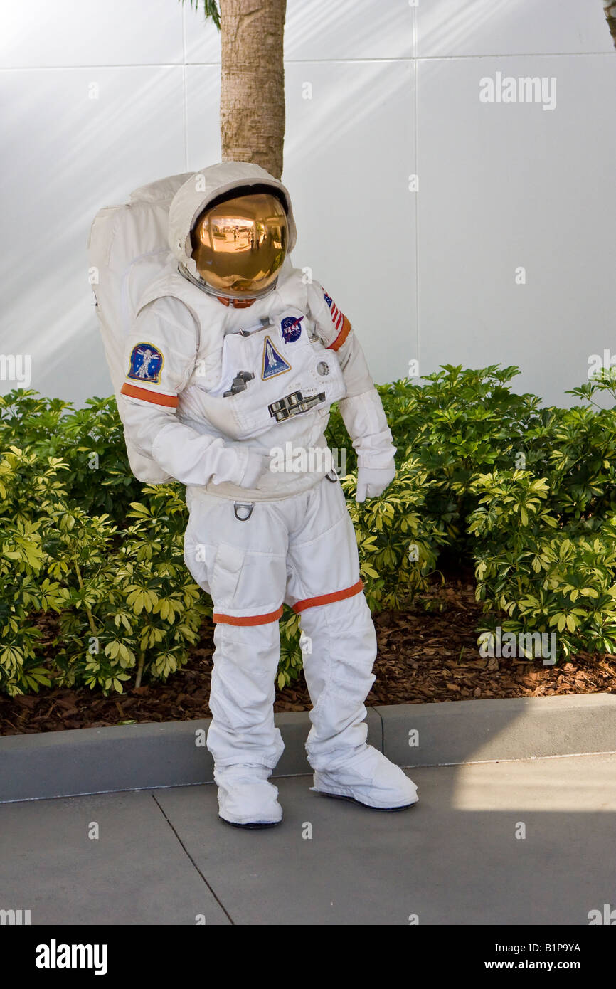 Astronaut Character in a Real NASA Astronaut Spacesuit at Kennedy Space Center in Cape Canaveral Florida USA - Stock Image