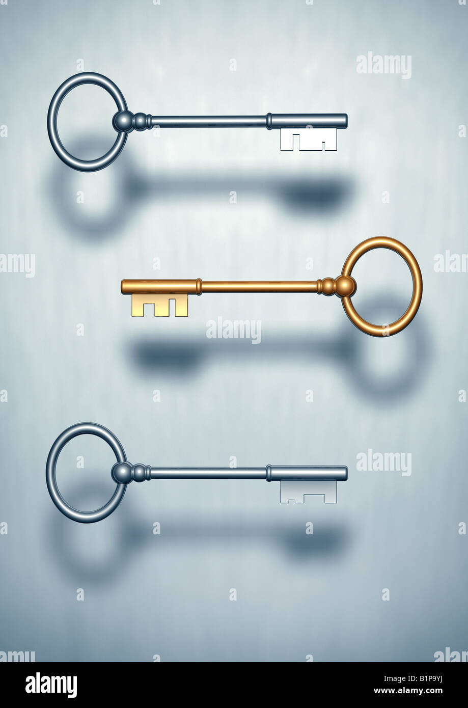 three keys the road to success 3 Schluessel einer golden Schluessel zum Erfolg - Stock Image