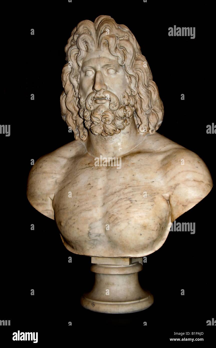 Zeus Roman 2nd centruy AD bust villa emperor Hadrian Tivoli  Italy Italian Rome - Stock Image