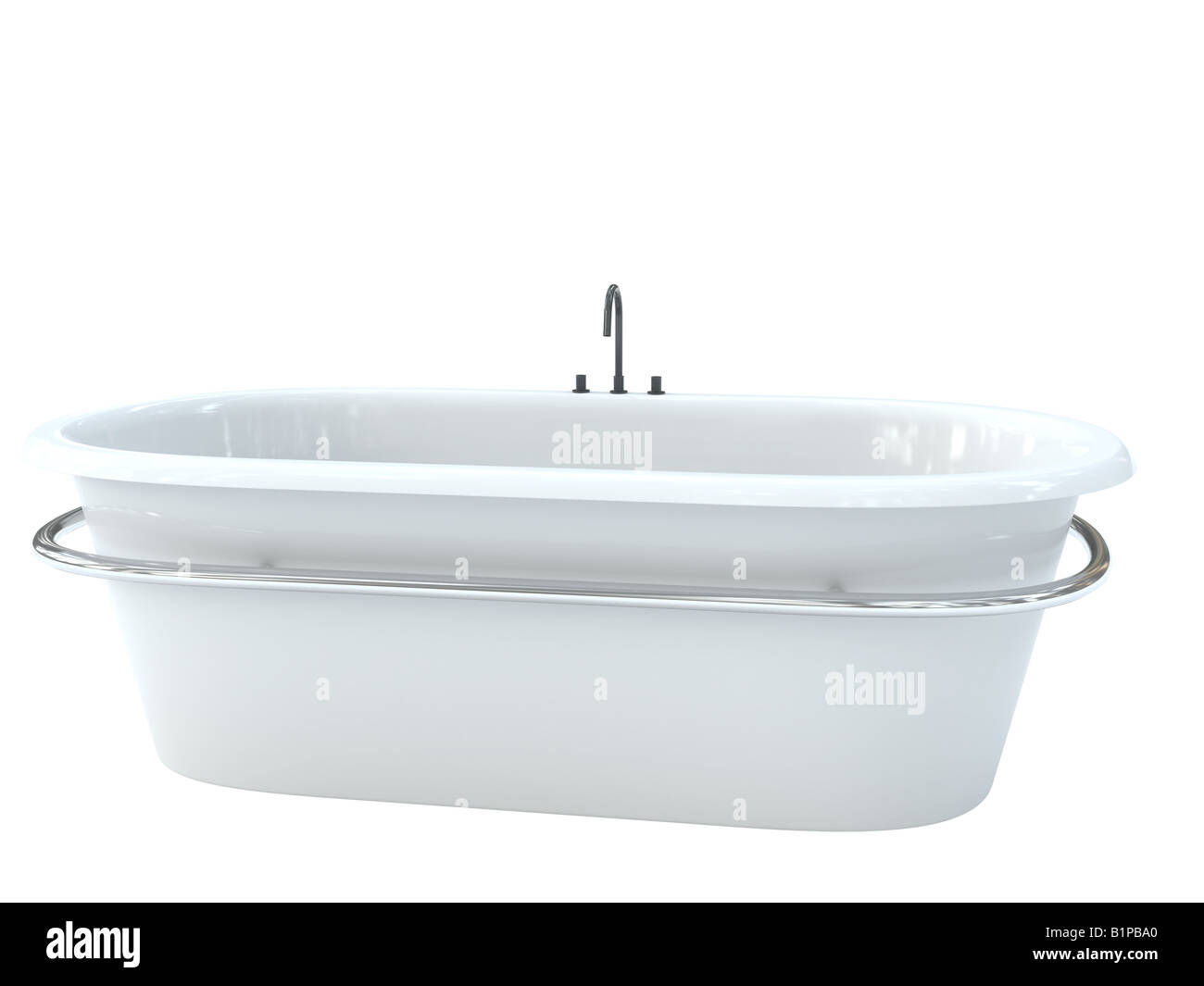 clean bath with mixer - Stock Image