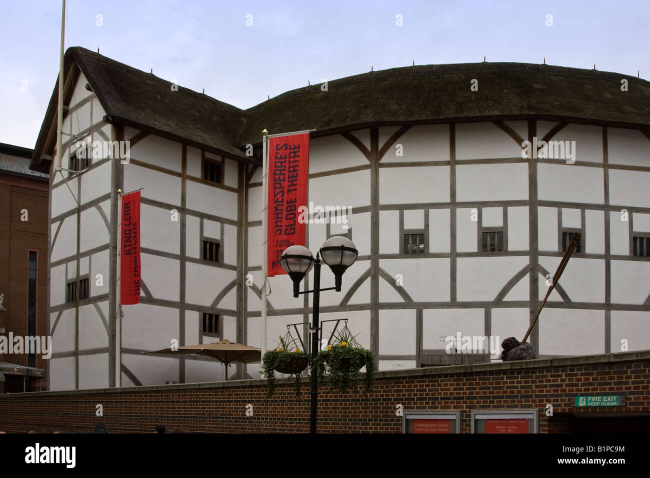 Globe Theatre, London England, a recreation of the original Shakesperian Theatre on the Thames River - Stock Image
