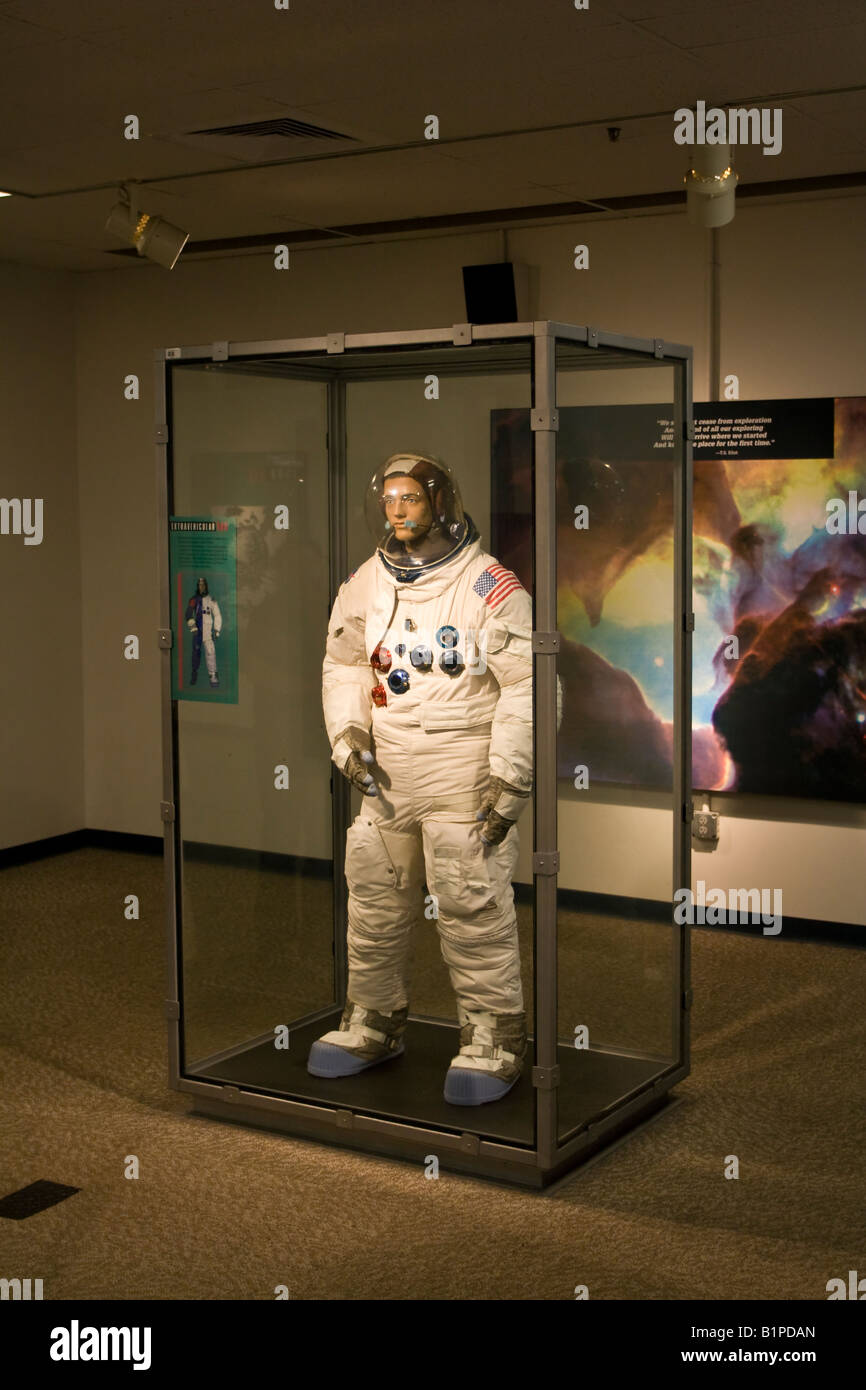 Astronaut Display of a Real NASA Astronaut Spacesuit at Kennedy Space Center in Cape Canaveral Florida USA - Stock Image