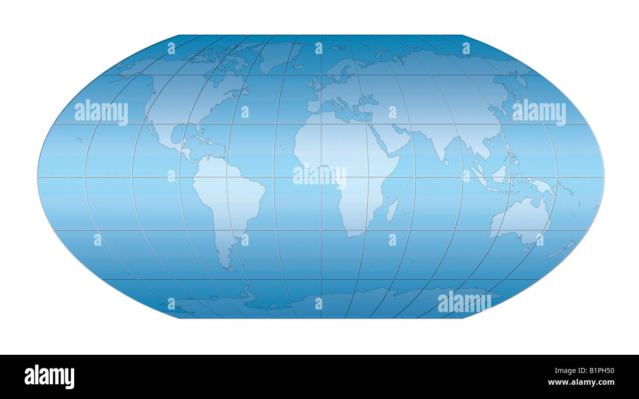 Blue world map projection against white background. Stock Photo