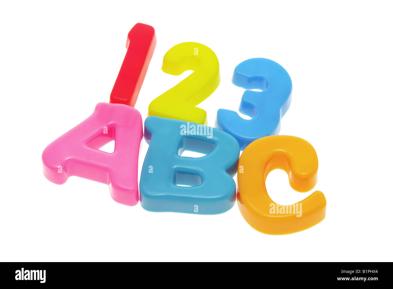 Alphabets ABC and numbers 123 on white background - Stock Image