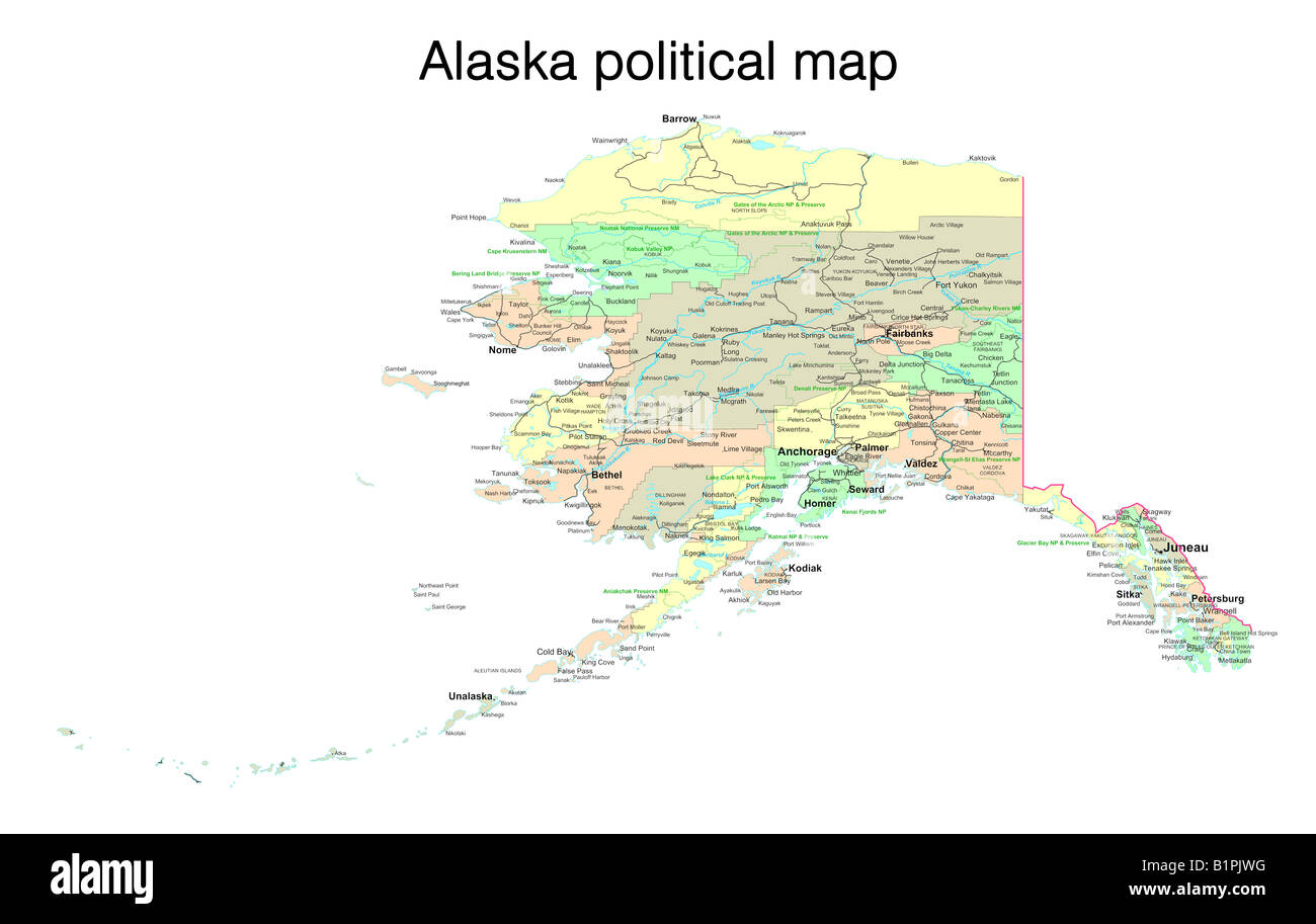 Political Map Of Alaska.Alaska State Political Map Stock Photo 18322796 Alamy