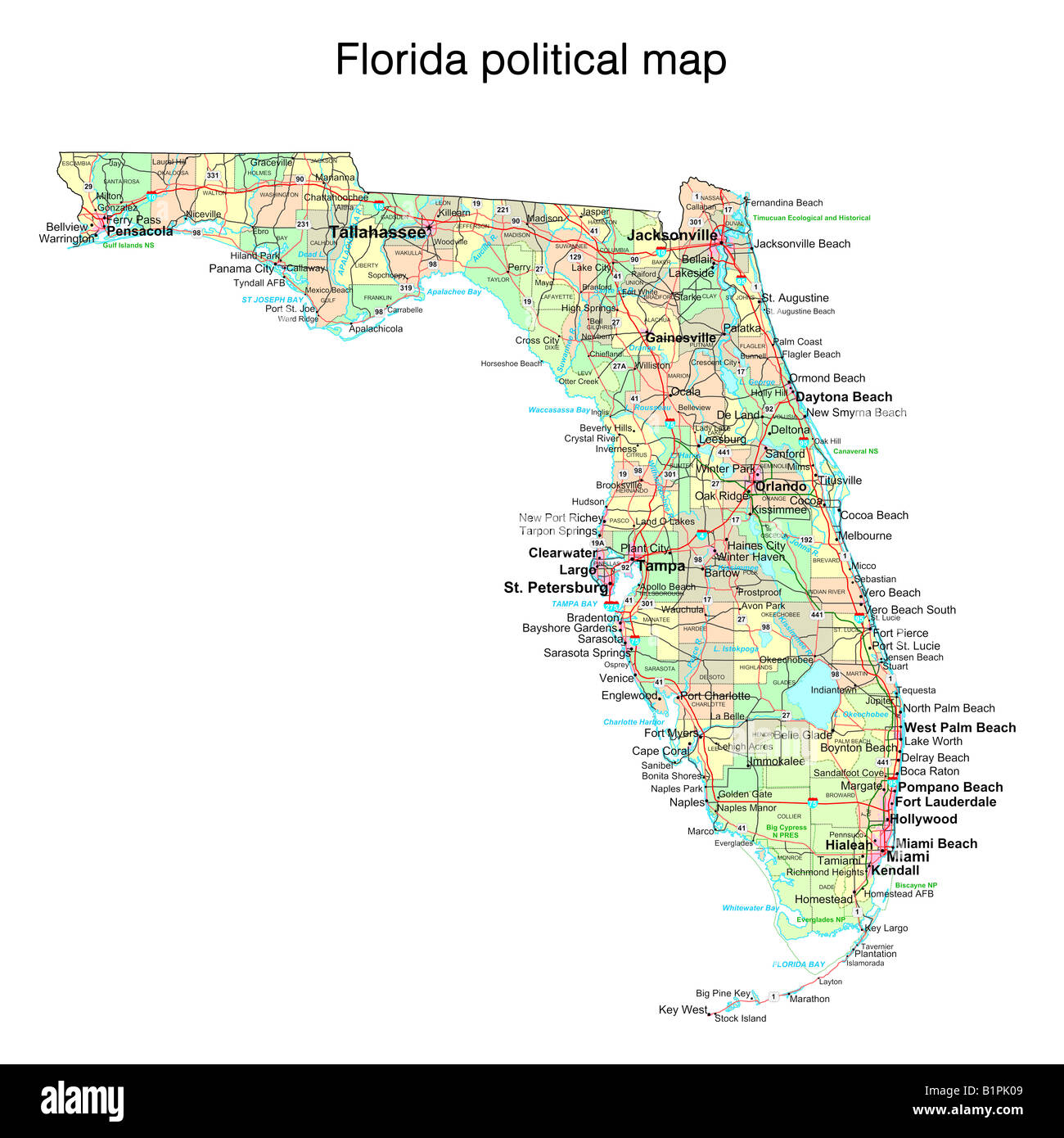 Map De Florida.Florida State Political Map Stock Photo 18322873 Alamy