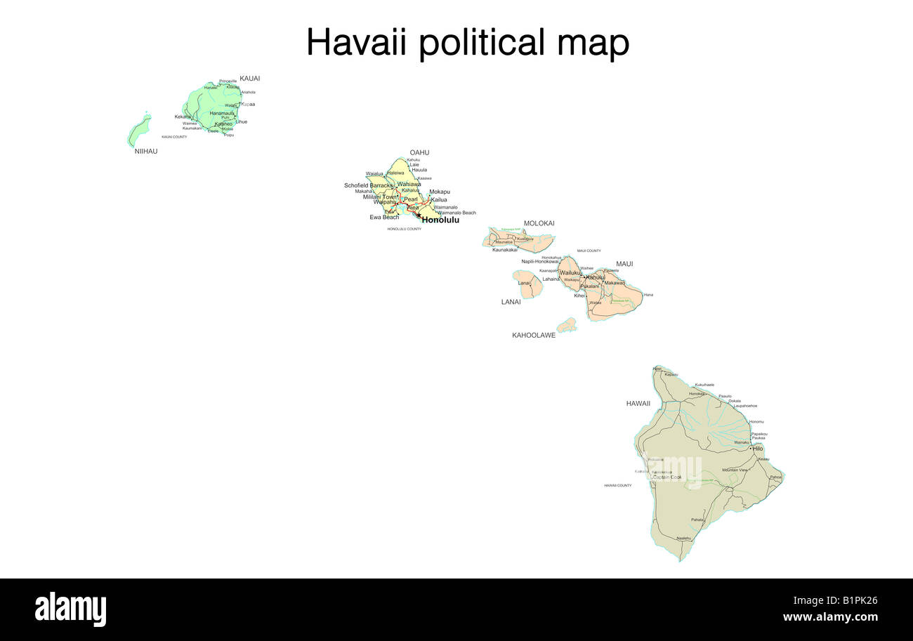 Picture of: Hawaii State Political Map Stock Photo Alamy
