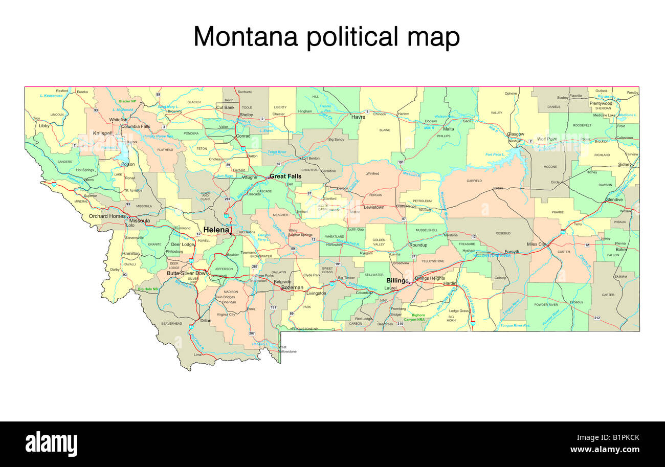 Map Of Montana Stock Photos Map Of Montana Stock Images Alamy