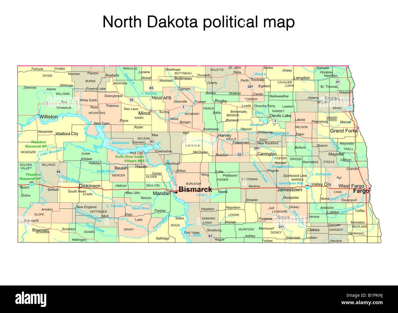 North Dakota state political map Stock Photo: 18323358 - Alamy
