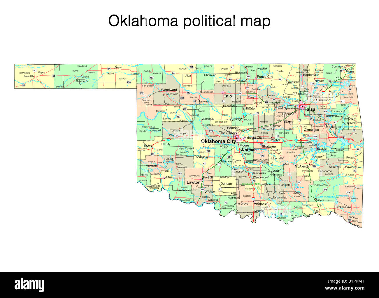 Oklahoma State Political Map Stock Photo 18323448 Alamy