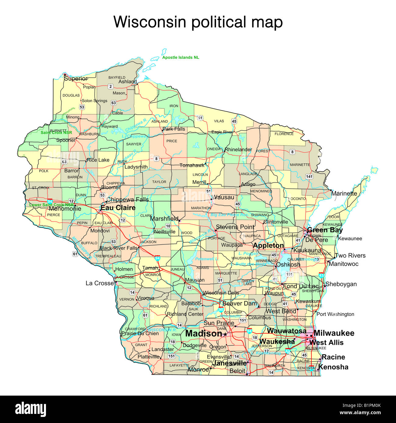 Wisconsin state political map Stock Photo: 18323667 - Alamy on albany state map, green state map, iowa state map, oakland state map, arlington state map, corpus christi state map, oshkosh state map, galveston state map, billings state map, rochester state map, scranton state map, harvard state map, dayton state map, montgomery state map, lake county state map, tulsa state map, peoria state map, spokane state map, aurora state map, allentown state map,