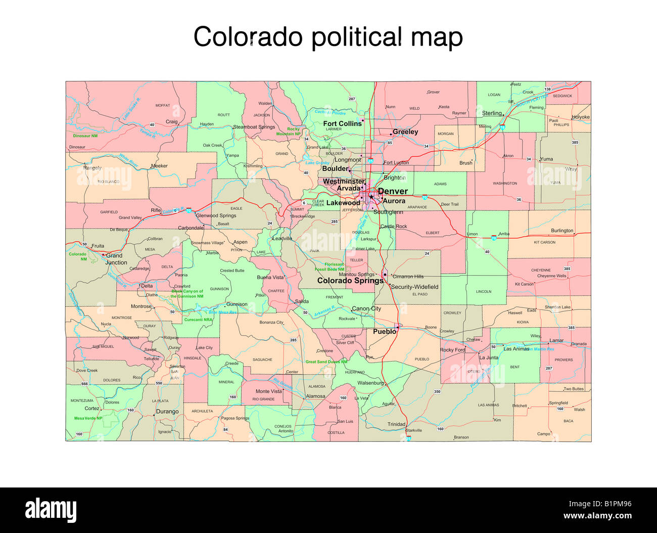 Colorado State Political Map Stock Photo 18323906 Alamy