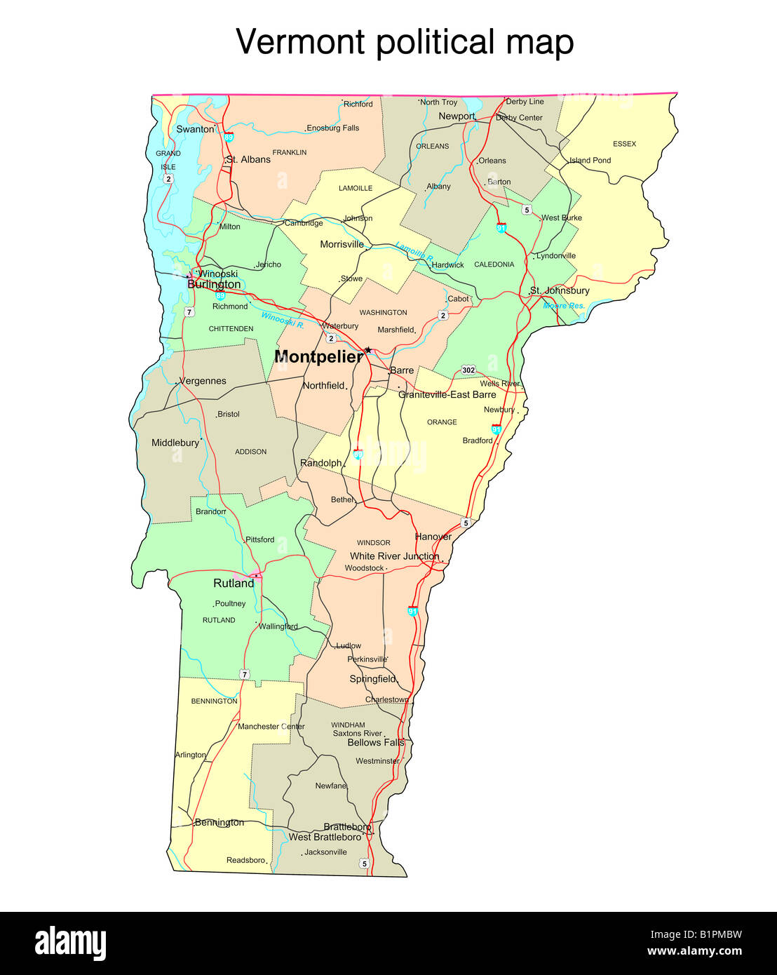 Map Of America Vermont.United America Map Vermont State Stock Photos United America Map
