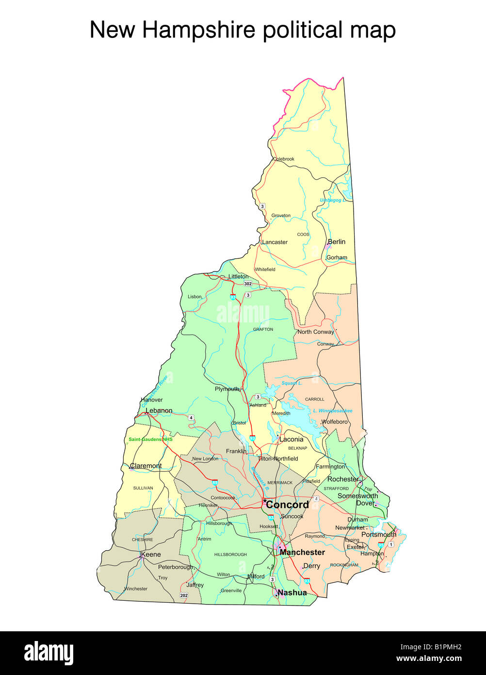 New Hampshire state political map Stock Photo: 18324126   Alamy