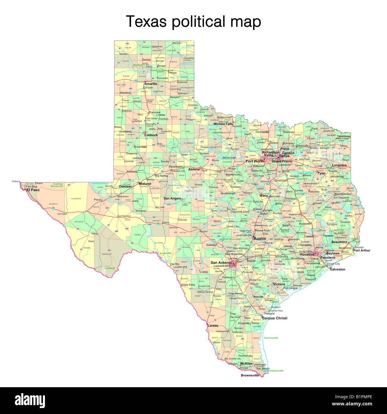 Texas State Political Map Stock Photo 18324278 Alamy