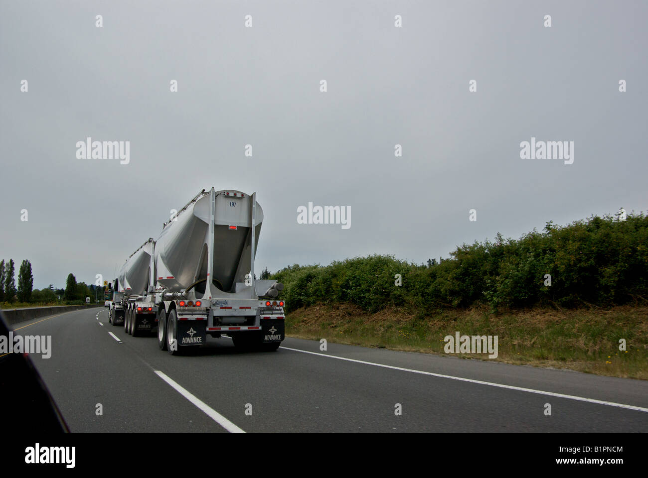 White diesel tractor truck transporter unit with double