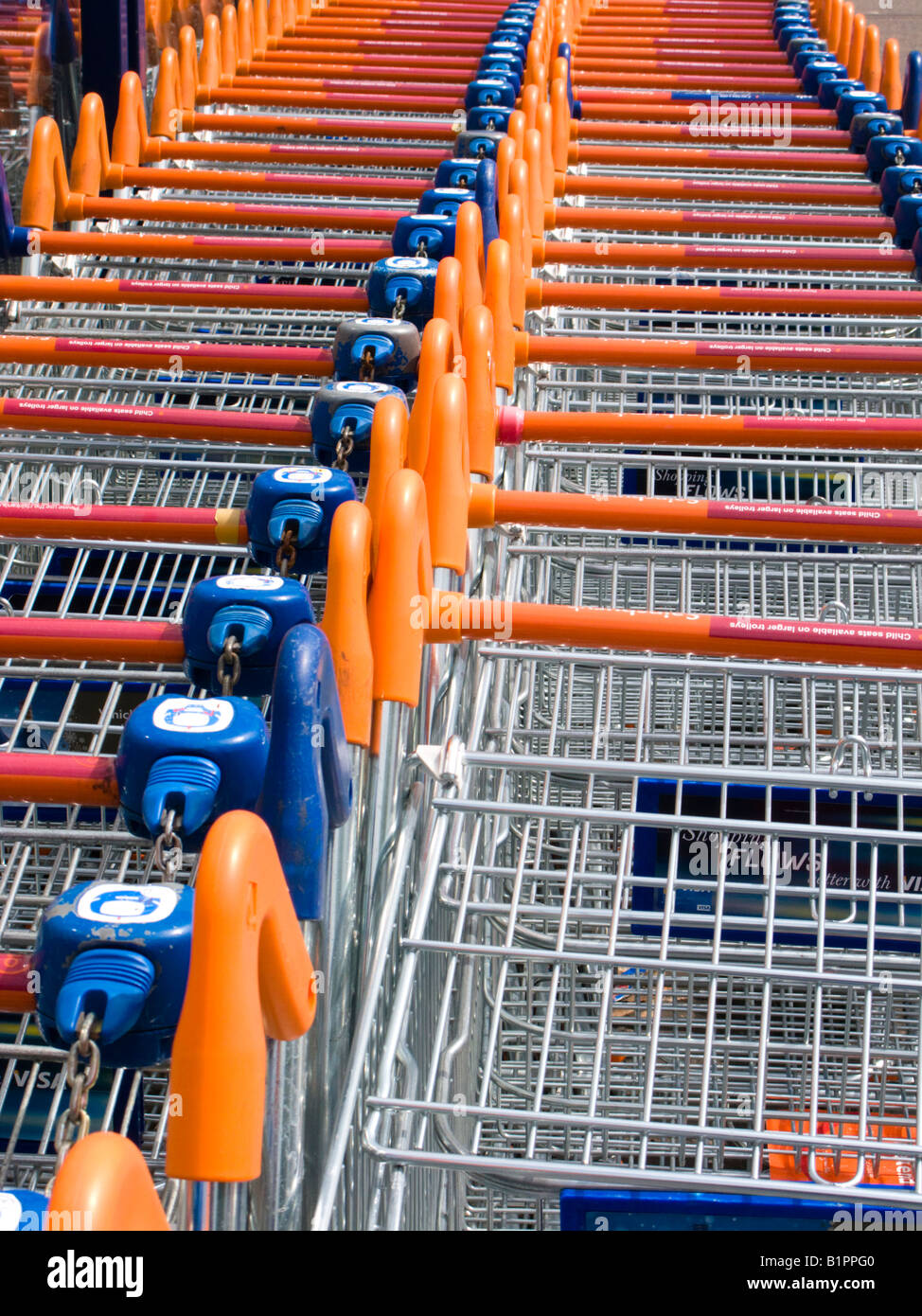 Supermarket trollies, Epsom, Surrey, England - Stock Image